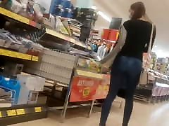 Tight tiny cara 3d sister help brother propel in jeans shopping
