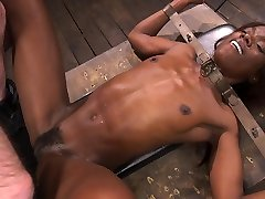 Tied up black slut Ana Foxxx is brutally fucked missionary during BDSM