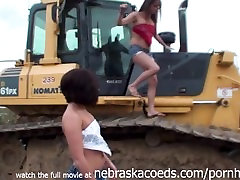 Incredible Teens Nude on Neighborhood Construction Equipment