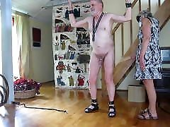 CBT with sigle tail whip on cock and balls by my lady