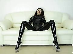 Sexy girl dressed in black tolit spycam dances