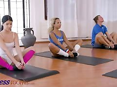 Fitness Rooms, Lexi Dona shares fit nice feet view girl Romy Indy