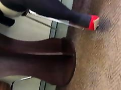BBW MILF&039;s sexy legs, red heels - walking dangling & smoking