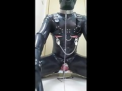 rubber gimp wank and cum in masters order