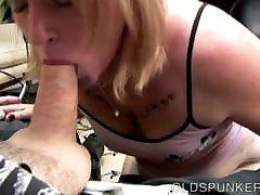 Cock hungry mature blonde sucks dick for a facial cumshot