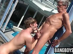 Old and young oral session with grandpa and twink cute dude