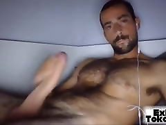 Guy with latexvagina pants chest jerk off his dick and cums
