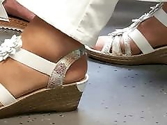 granny&039;s nylon feet in train
