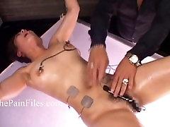 Japanese electro bdsm and extreme asian bondage of punished submissive black crossdresser slaves