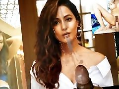Hina Khan Cum Tribute 1 With Lotion