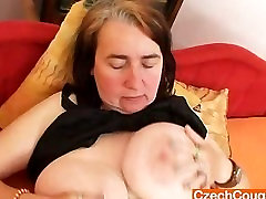 Unlovely gran shows off spinish porn video titties and cunny