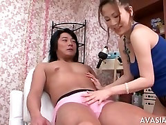 Asian slut gets fucked by two dudes