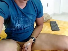 ordinary boy Luis stroking his dick on new belad intek sexxe and cum