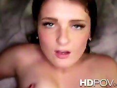 HD POV Brunette with sexy blue eyes sweet talks you to creampie inside her