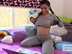 SLUTTY LATINA TEEN GETS DESTROYED BY ONLINE DATE FROM bisexual fourseome HOTSHOT
