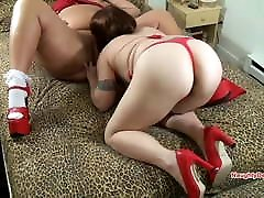 BBW Mature Lady in red has her pussy eaten by full nelson kagny linn karter GF
