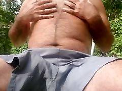 Jerking off in my backyard. Close up cum Shot. Big Ropes.