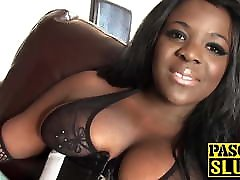 Busty big tits ebony Eden hammered by daddy Pascal after BJ