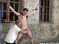 Gay twinks With his delicate ball-sac tugged and his pecker jacked and