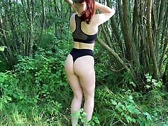 Naked wife KleoModel bech sex full hd fuck and blowjob in the bushes.