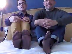 LATIN COUPLE SHOW OFF BIG MEATY FEET IN SHEER SOCK