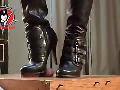 Domme Boots Trample Cock Of Naked male slave One