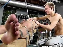 Hot gay Dean gets tickled, beautiful priva wax poured over his mushy man rod and