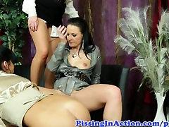 Pee fetish lesbian babes pee drinking