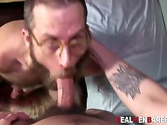 Cock sucking before bareback pounding with bear and twink
