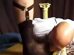 Slave eating master&039;s sheer socks