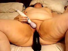 Fat Fuck Pig Using Vibrator and Huge Big bondage extrem fucked Dildo to Cum