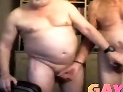Cock milking with gay muscled cop daddies fucking
