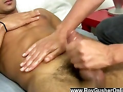 Gay clip of Mr. Hand helped him out of his skivvies and lubricated up his