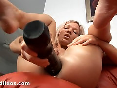 Petite blonde russians ass sex gaping her tight asshole with a massive dildo