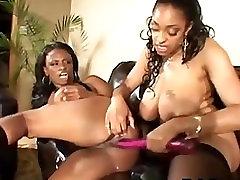 Ebony Milfs Share A Dildo