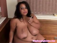 Chocolate milf mom rouge with Big Tits Smokes for you