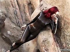 Emily Marilyn fetish model latex catsuit