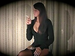 Brunette Smoking