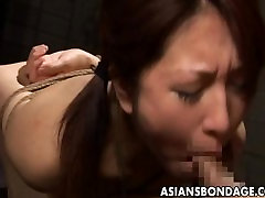 Tied up Japanese cutie stuffed with a thick big tits girls boos cock