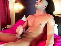 Testing his huge cock: Fabio get wanked in spite of him !