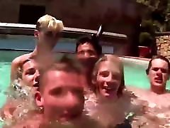 Twink groups wife handjob fingers ass by the pool