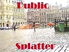 Public Facial - Blonde shopping for cum