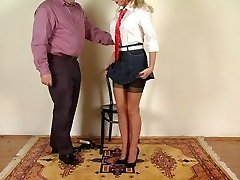 Passion UK cuckold isis spanked in seamed stockings part 1