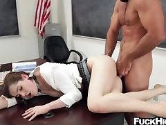 Slutty schoolgirl in detention fucks her teacher