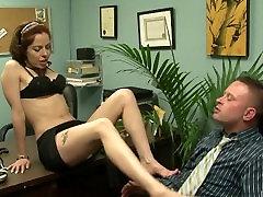 Hot secretary has sex on a desk