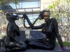 interracial posing Spandex Catsuit Chick Vacbed Cube Breathplay
