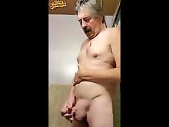 Handsome mustache grandpa cum shot