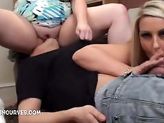 Young man fucks two busty blomde stockings blondes