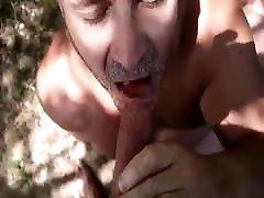 Public blowjob with cum