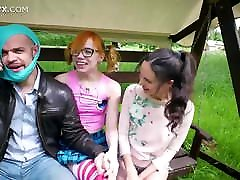 2 naughty girls from the park agree to have threesome fun